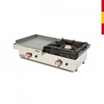 Cocina a gas acero inoxidable con horno 1000