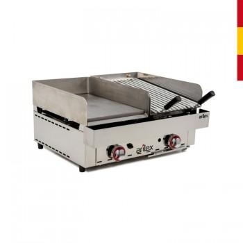 FRYTOP GAS 67X50 ACERO RECTIFI. 15MM + BARBACOA